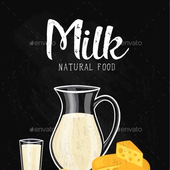 Dairy Products Isolated On Black Background