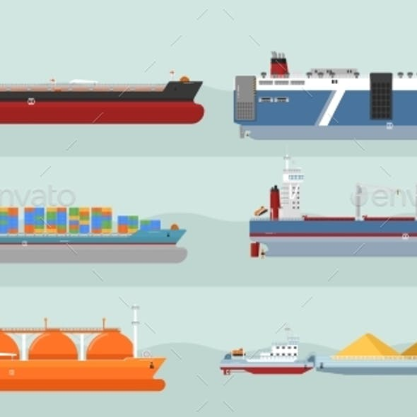 Collection Of Cargo Ships Flat Style Illustrations