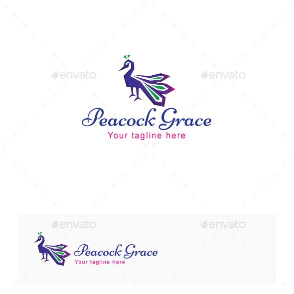 Peacock Grace - Graceful Bird Stock Logo Template