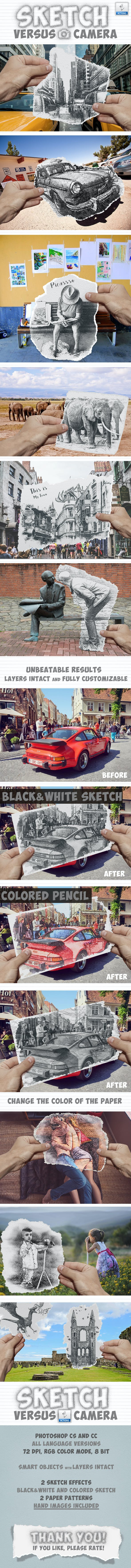 Pencil sketch vs camera photo effect photoshop action photo effects actions