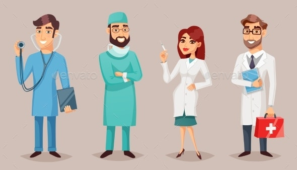 Medical Professionals People Retro Cartoon Poster - Health/Medicine Conceptual