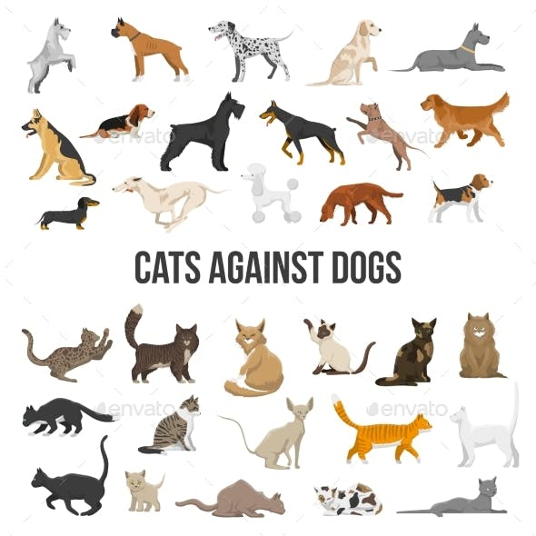 Breeds Set of Dogs and Cats
