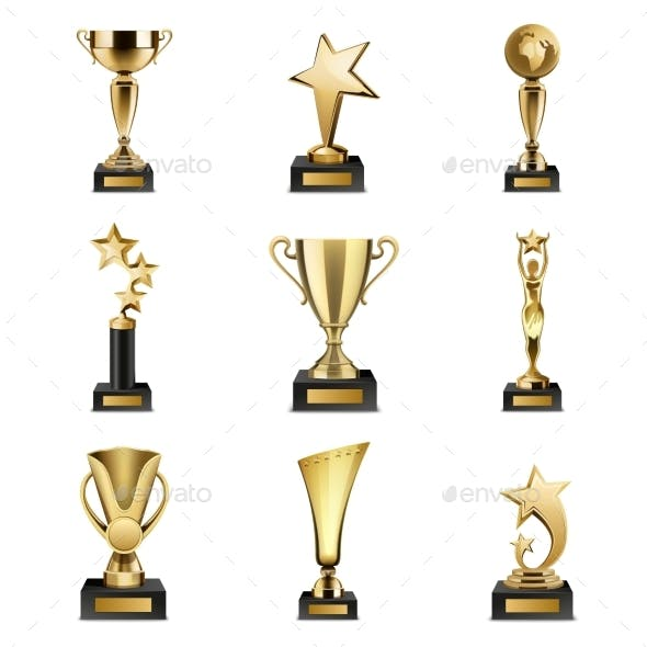 Trophy Awards Realistic Set