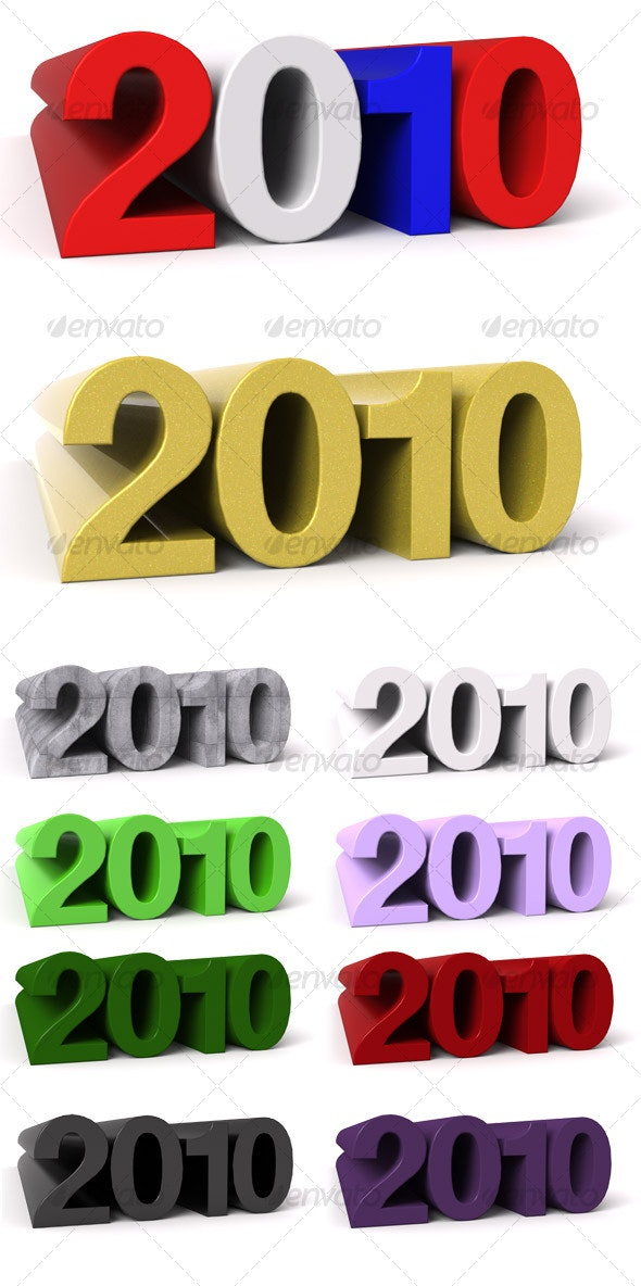 2010 - 3D Numbers 10 Pack - 3D Renders Graphics