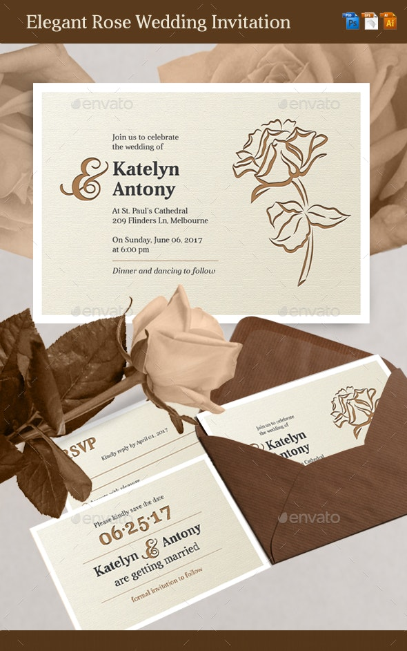 Elegant Rose Wedding Invitation - Weddings Cards & Invites