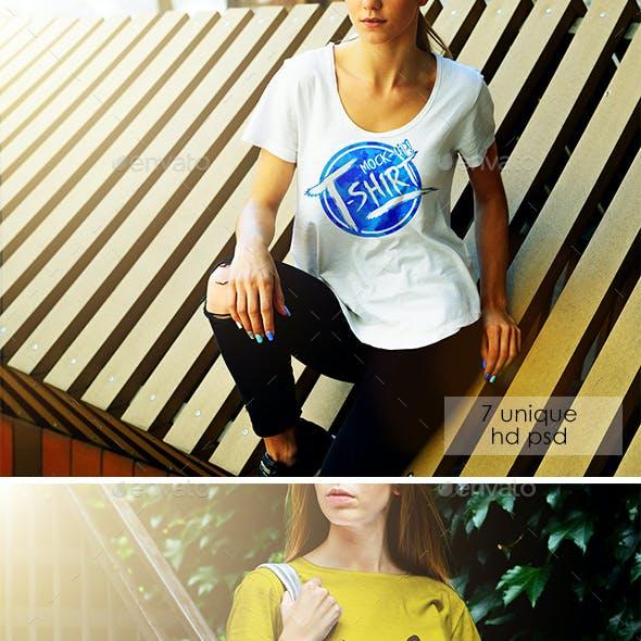 Female T-Shirt Street Mock-Up