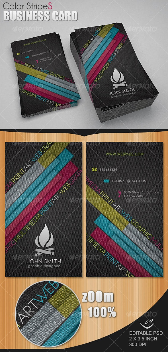 Color StripeS Business Card - Creative Business Cards