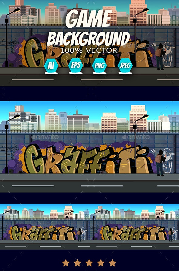 Graffiti on the Wall Urban Background - Backgrounds Game Assets