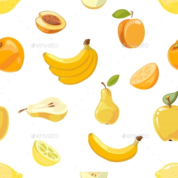 Yellow Fruits Seamless Pattern Over White - Miscellaneous Vectors