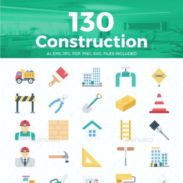 130 Construction Color Vector Icons Set