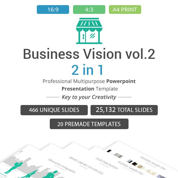Business vision vol .2 -2 in 1 PowerPoint Template Bundle