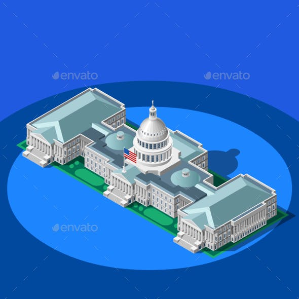 Election Infographic Capitol Dome Vector Isometric Building