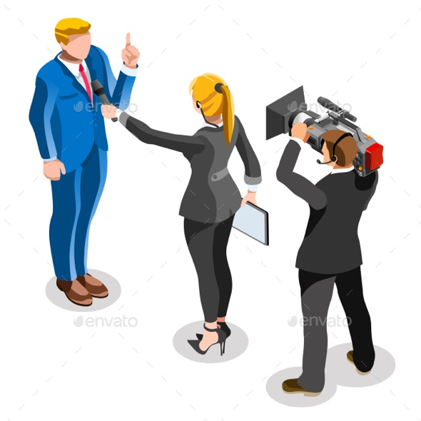 Election News Infographic Latest Pools Vector Isometric People - People Characters
