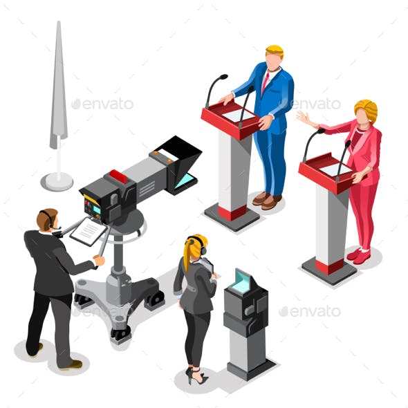 Election News Infographic Live Video Vector Isometric People