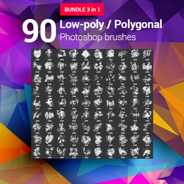 90 Low-Poly / Polygonal / Geometrical Photoshop Brushes Bundle