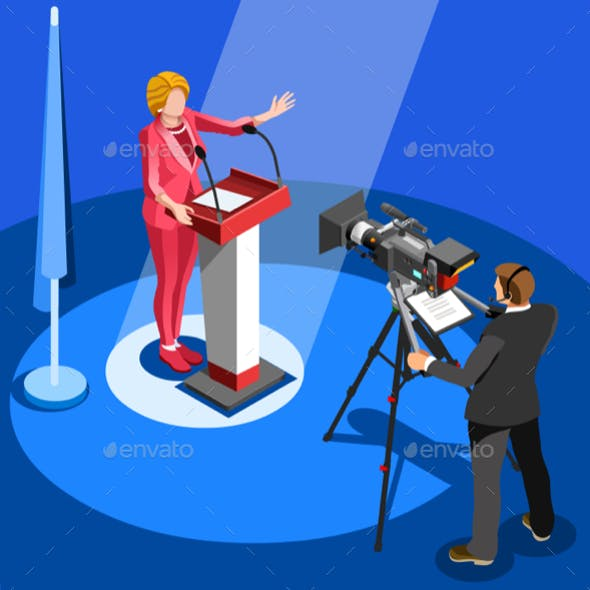 Election News Infographic Us Spokesperson Vector Isometric People