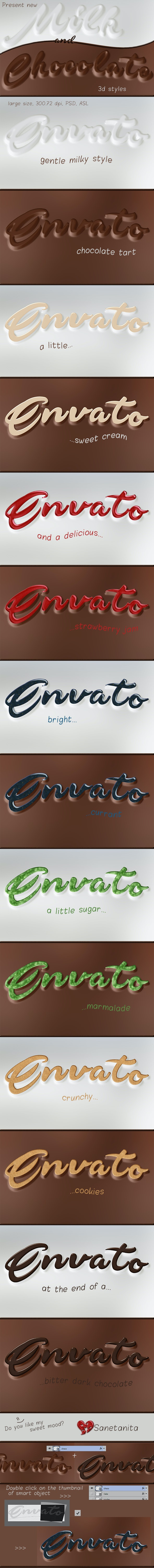 Milk & Chocolate 3D styles - Text Effects Styles