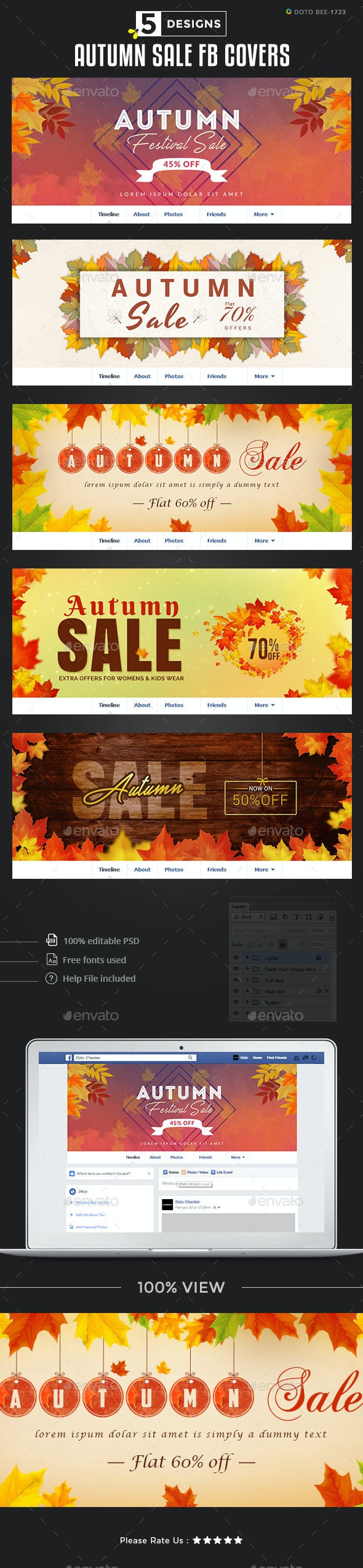 Autumn Sale Facebook Covers - 5 Designs by Hyov | GraphicRiver