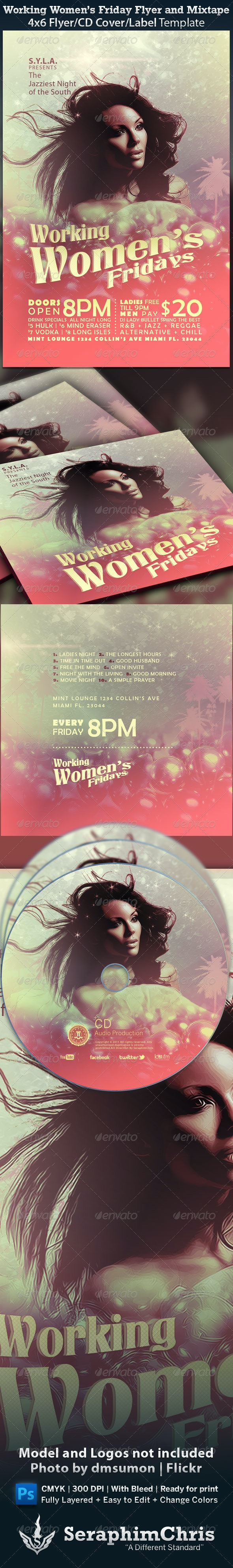 Working Women's Fridays Flyer and Mixtape - Clubs & Parties Events