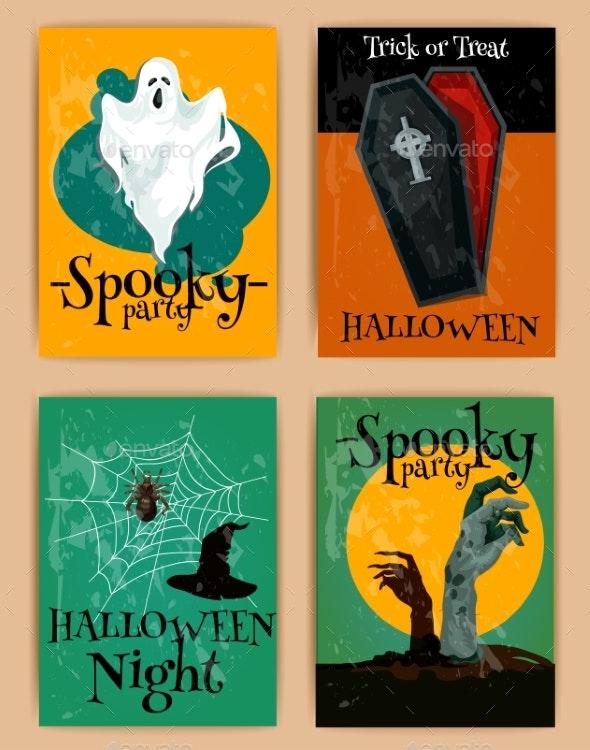 Grungy Halloween Invitations In Retro Style - Halloween Seasons/Holidays