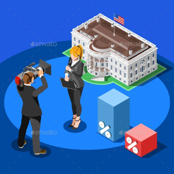 Election News Infographic White House Vector Isometric People - Vectors