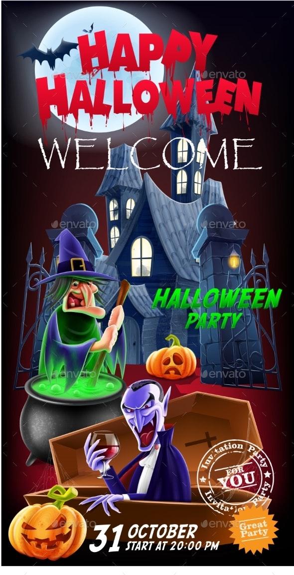 Invitation Flyer for a Party Halloween - Halloween Seasons/Holidays