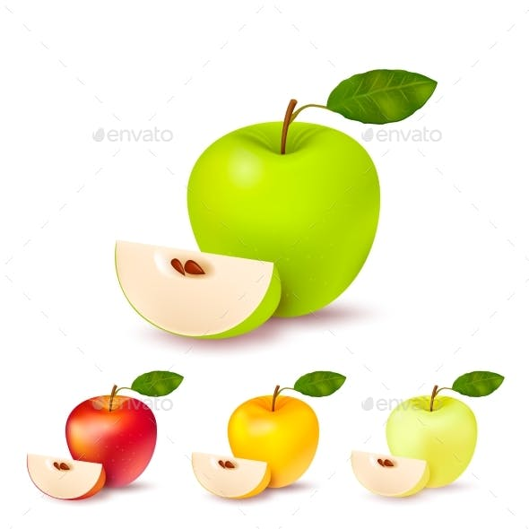 Colorful Apples Isolated Set