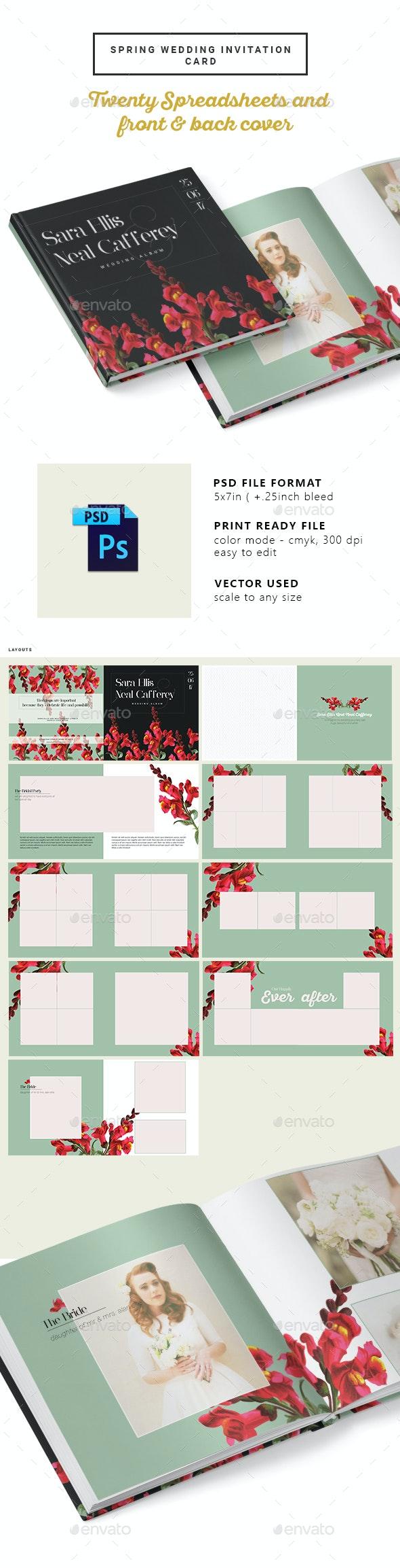 Vintage Floral Wedding Photobook/Album - Photo Albums Print Templates