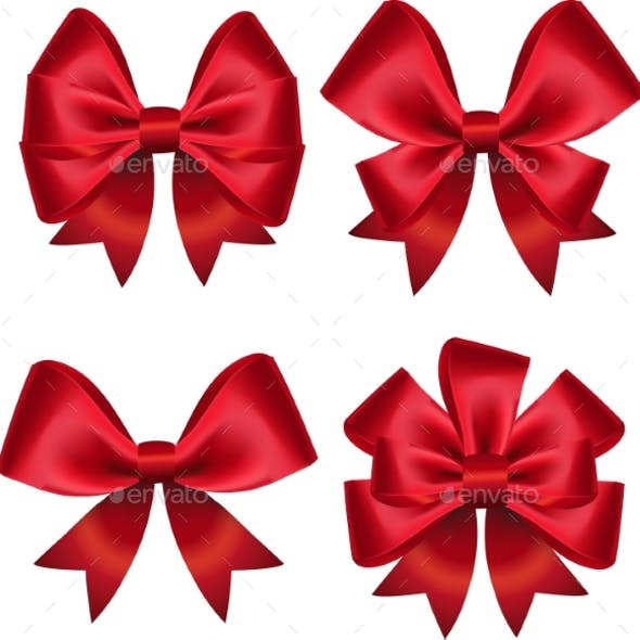 Set Of Colorful Gift Bows. Vector Illustration