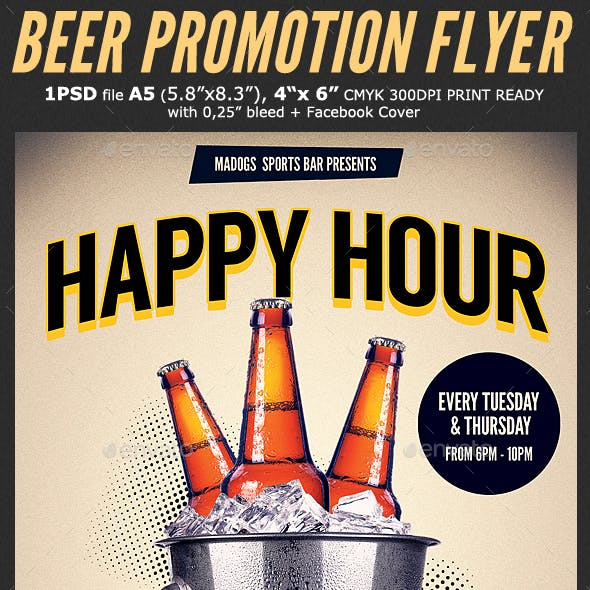 Beer Promotion Happy Hour Flyer Template 3