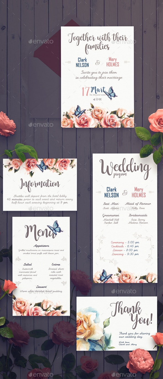Rose Wedding Invitation Set - Weddings Cards & Invites