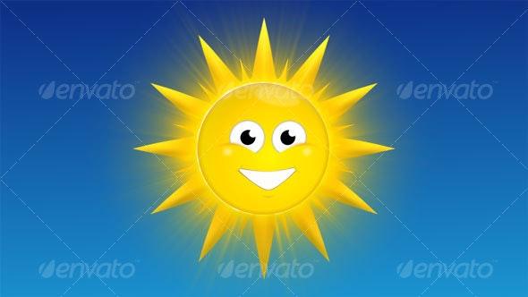 Smiling, Happy Sun Cartoon - Characters Illustrations
