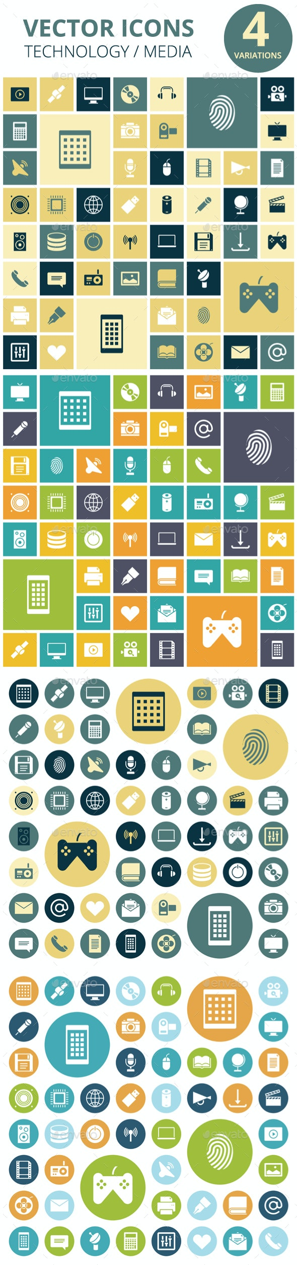 Flat Design Icons for Technology and Media - Technology Icons
