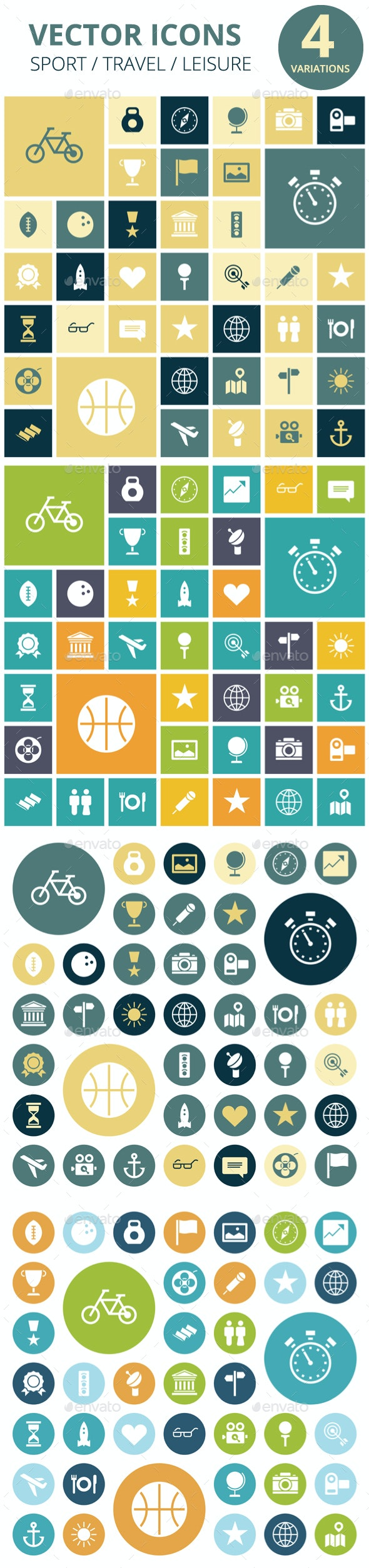 Flat Design Icons for Travel, Sport and Leisure - Miscellaneous Icons