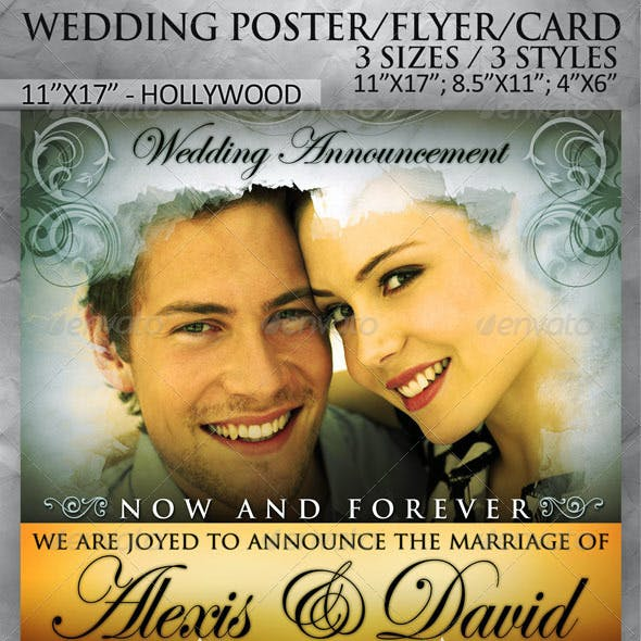 Wedding Poster / Flyer / Card in 3 sizes