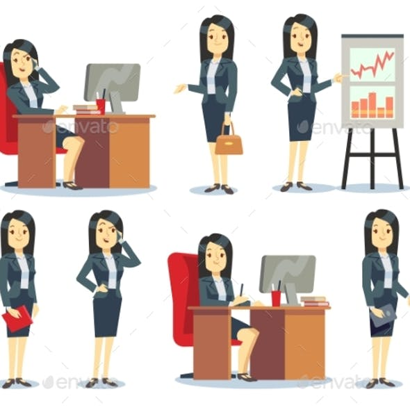 Office Businesswoman in Various Situations