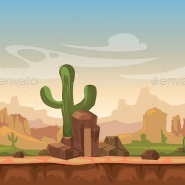 Cartoon America Prairie Desert Landscape