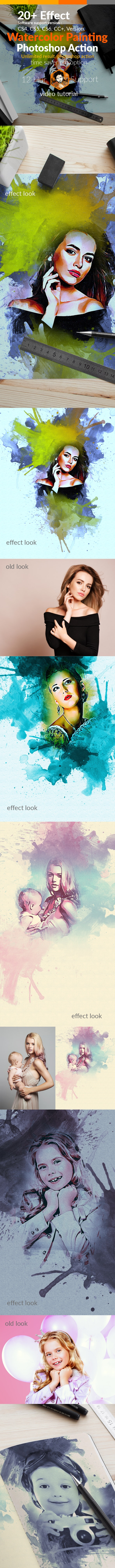 Watercolor Painting Photoshop Action - Actions Photoshop