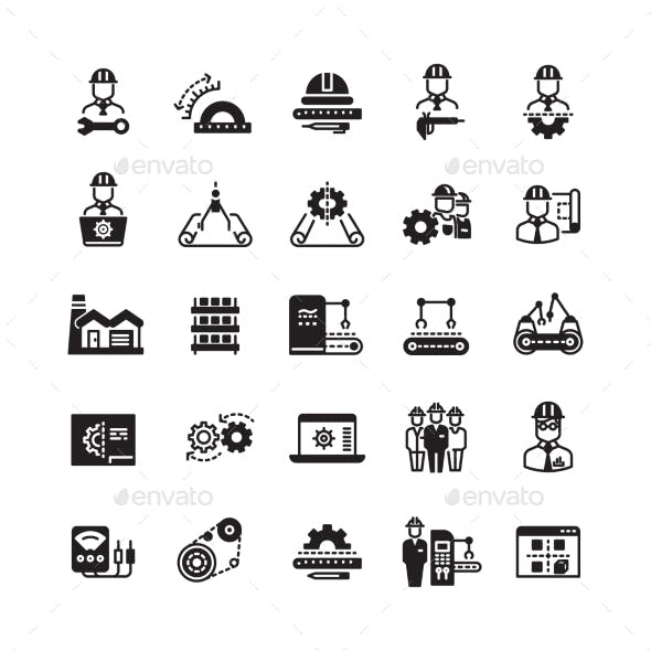 Engineering Manufacturing Industrial Vector Icon