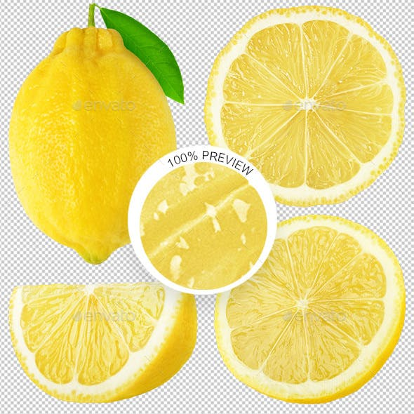 Collection of Isolated Lemon Pieces