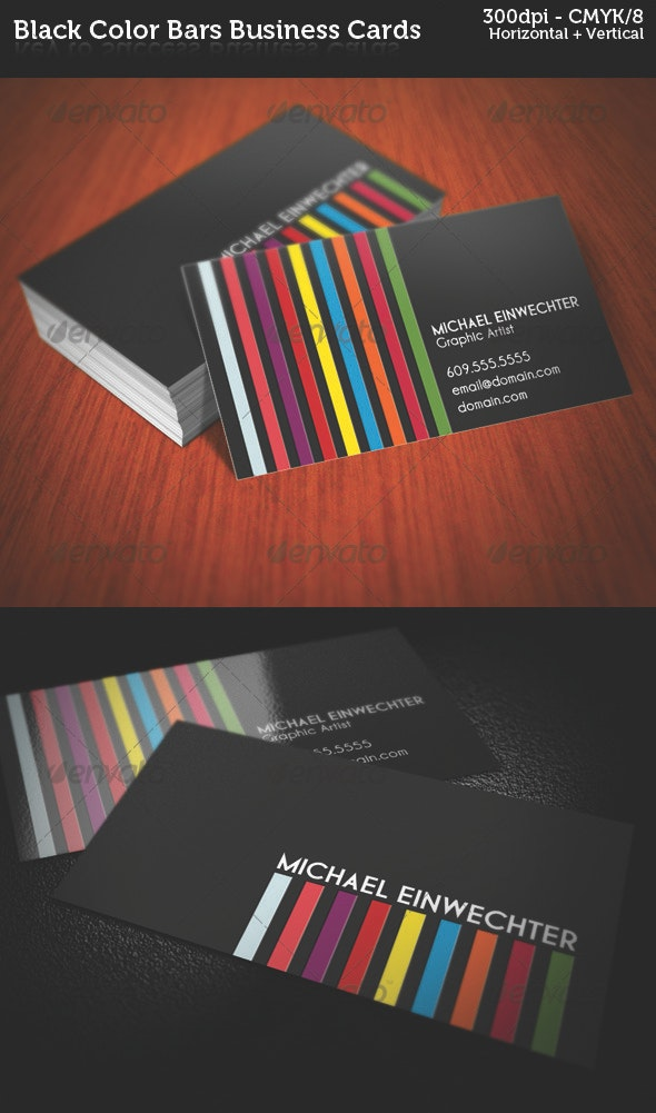 Black Color Bars Business Cards - Creative Business Cards