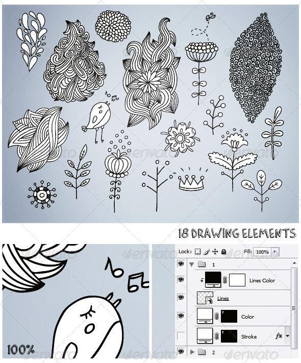 18 Drawing Elements - Decorative Graphics