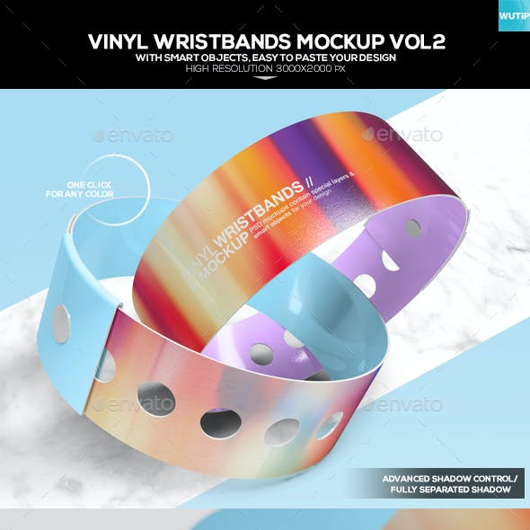 Vinyl Wristbands Mockup Vol2