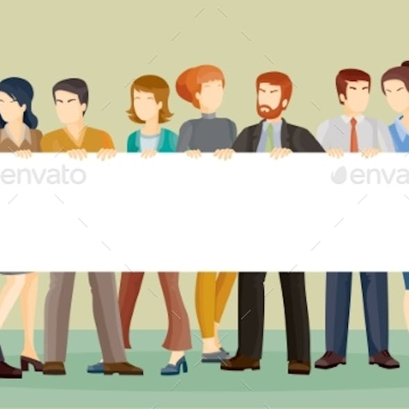 Vector Illustration Of People Holding a Banner In