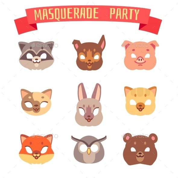 Animals Party Masks Vector Set