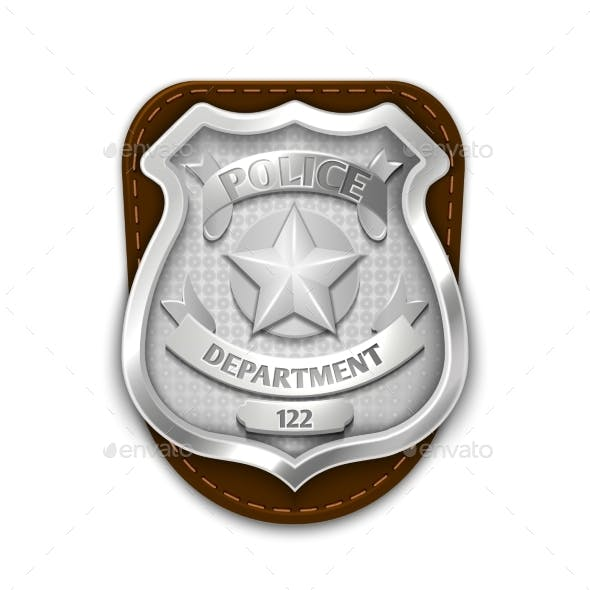 Silver Steel Police, Security Badge Isolated