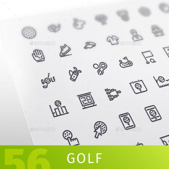 Golf Line Icons Set
