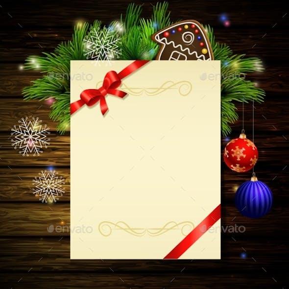 Christmas Background On Wood