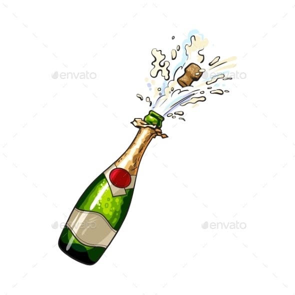 Champagne Bottle with Cork Popping Out