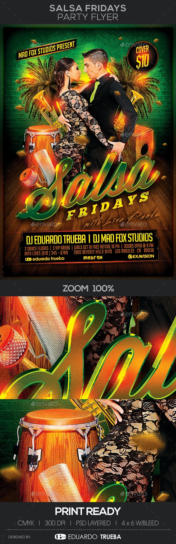 Salsa Fridays Party Flyer - Clubs & Parties Events
